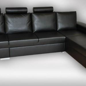 Rozkladacia kožená rohová sedačka Levanto s úložným priestorom
