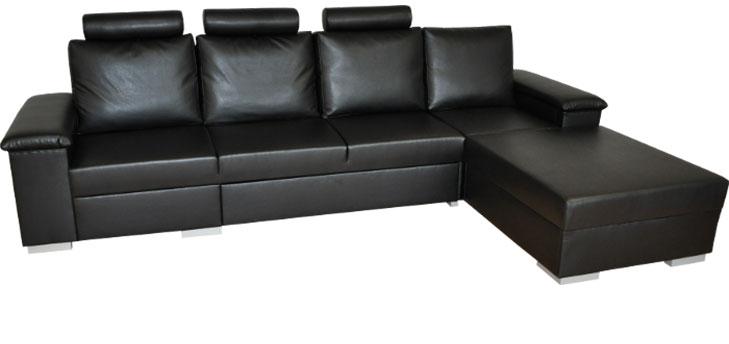 Kožená sedačka Levanto s úložným priestorom a miestom na spanie